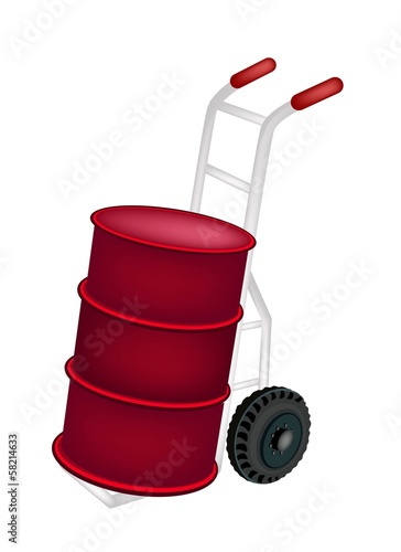 A Hand Truck Loading An Oil Drum