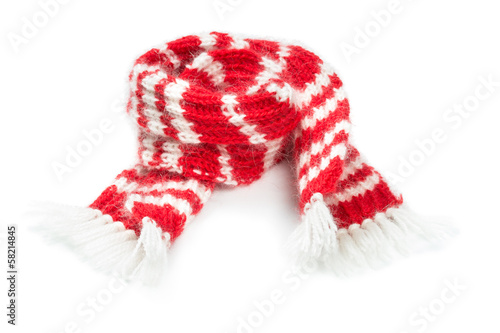 Fluffy woolen scarf isolated on white background