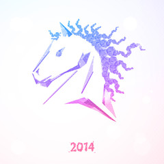 Horse. Happy new year 2014. Vector eps 10.