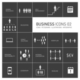 vector business icons and pictograms set on black background