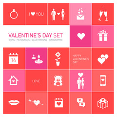 happy valentines day icons and pictograms set