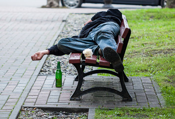 Drunkard on bench