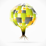 Globe tree abstract vector illustration