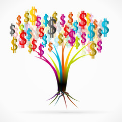 Money tree abstract vector illustration
