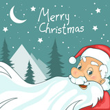 Cute cartoon Santa Claus on Christmas background