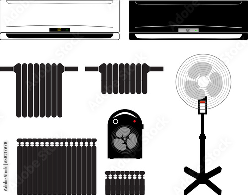various versions of devices for heating and space cooling