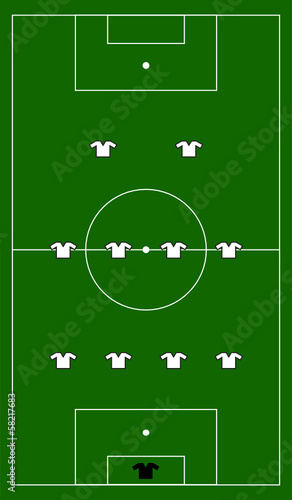 soccer field with team formation
