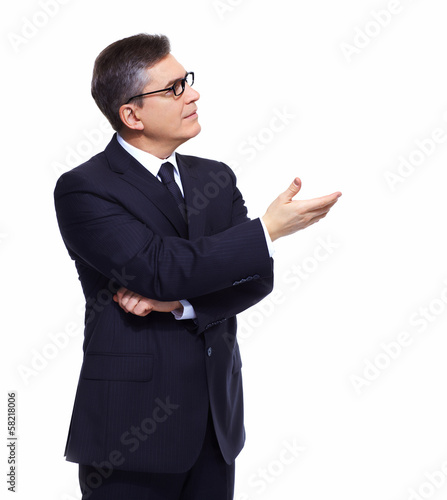 Businessman presenting copyspace.