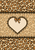 Card with heart frame and leopard fur texture