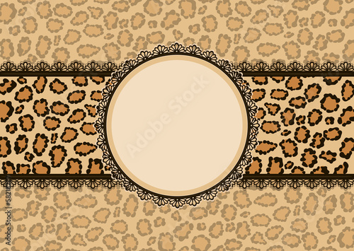 Card with leopard texture background and lace frame