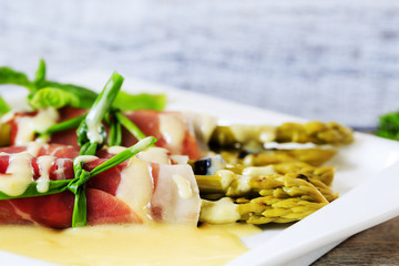 Asparagus, Grilled asparagus wrapped in prosciutto meat a