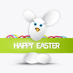 Vector happy easter theme - rabbit made of eggs
