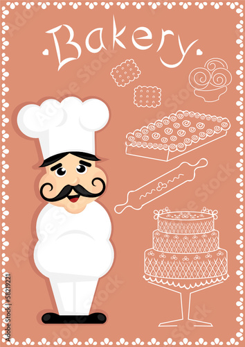 cartoon chef with cakes and bakery sign