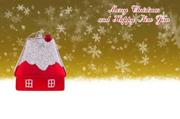 Merry Christmas and Happy New Year gold background
