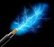 Leinwanddruck Bild - Kabel mit Blitz