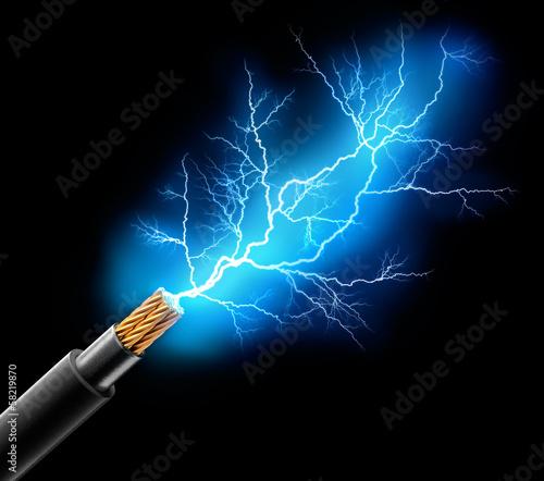 Leinwanddruck Bild Kabel mit Blitz