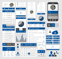 UI Flat Design Elements for Web, Infographics,