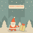 Christmas, New Year greeting card with Santa Claus
