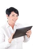 Best Agerin benutzt Tablet-Pc