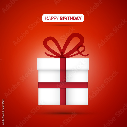 Happy Birthday vector, white present on red background