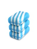 Three new color soap bars on white background