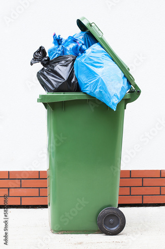 Rubbish sacks in bin