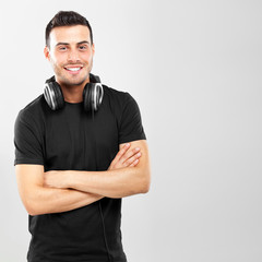 Young man wearing earphones