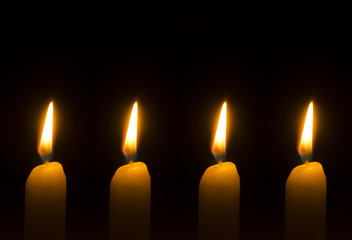 Four burning candles for Advent - Christmas