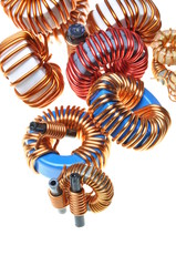 Copper coils isolated on white background