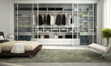 Modern wardrobe in bedroom