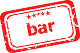 bar word on red rubber grunge stamp