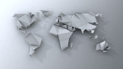 Motion stop origami continents folding and unfolding.Video loop