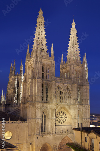 Burgos Cathedral illuminated.Castilla,Spain.