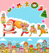 set of Christmas cartoons and design elements
