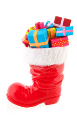 Christmas boot with presents
