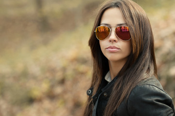 Closeup of a beautiful woman in sunglasses
