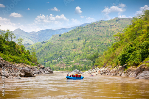 Rafting on the Bhote Koshi  in Nepal.