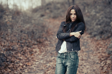 Young beautiful woman outdoors portrait