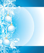 Shining Christmas balls on the blue background with snowflakes