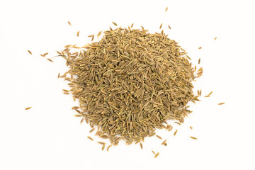 Dried caraway fruits (often termed caraway seeds)