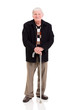 elderly man with walking stick