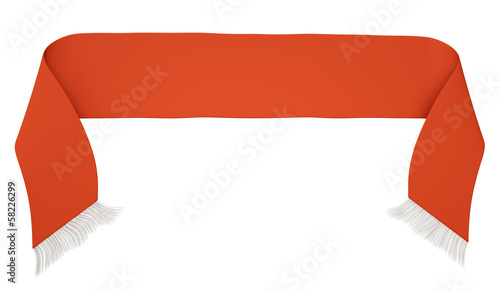Red football scarf isolated on a white background.