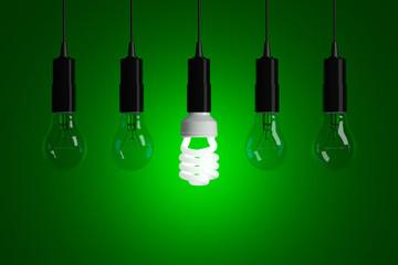 Light bulbs on a green background