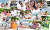 Montage Happy Ethnic Family Parents & Children Holiday
