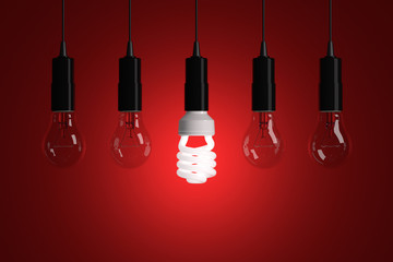 Light bulbs on a red background