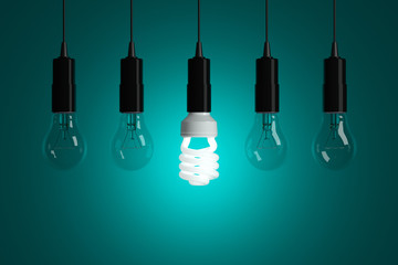 Light bulbs on cyan background