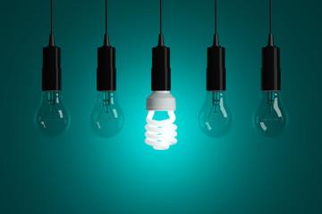 Light bulbs on cyan background