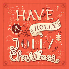 Christmas poster design with hand lettering. Vector illustration