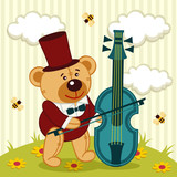 teddy bear playing on cello - vector illustration