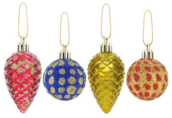 New year toys and decorations isolated on a white background.